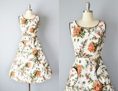 50s Dress // 1950s Floral Cotton Day Dress with Large Pockets // Large by OffBroadwayVintage on Etsy https://www.etsy.com/listing/231372695/50s-dress-1950s-floral-cotton-day-dress