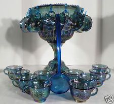 Indiana Carnival Glass Blue Harvest Grape Punch Bowl Wedding Set w/ 24 Cups