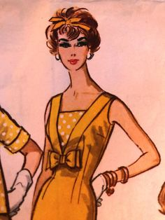 Sleeveless sheath dress and open-fornt box jacket. Low V-neck at front of dress outlined with bands of dress fabric, filled in with self fabric or contrast shield. Long darts, back and front. Part way zipper and low pleat at center back. French dart fitting in jacket fronts. Collar, cut