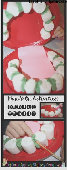 Hands on activities to explore dental health. Stale mars… Hands on activities to explore dental health. Stale marshmallows make great teeth and yarn flosses play dough plaque! Dental Health Month, Oral Health, Health And Nutrition, School Health, Health Activities, Hands On Activities, Space Activities, Dental Hygiene, Dental Care