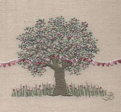 Jo Butcher, Embroidery Artist - Apple Blossom and Bunting
