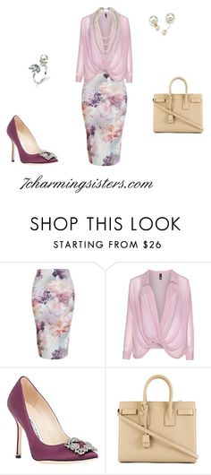 """""""Taking Care of Business"""" by paula-charming on Polyvore featuring Manon Baptiste, Manolo Blahnik, Yves Saint Laurent, women's clothing, women, female, woman, misses and juniors"""