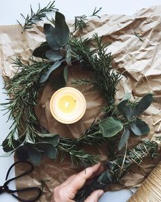 Beautiful natural wreath made from rosemary and sage with Winter Bergamot candle by Essence and Alchemy Natural Christmas, Rustic Christmas, Snowy Pictures, Christmas Gift Guide, How To Make Wreaths, Winter Season, Fairy Lights, Wonderful Time, Christmas Decorations