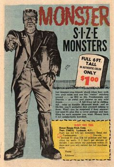 Old Famous Monsters/comics ad for life-size monster murals. Old Comic Books, Vintage Comic Books, Vintage Comics, Vintage Advertisements, Vintage Ads, Creepy Vintage, Funny Vintage, Vintage Stuff, Vintage Looks