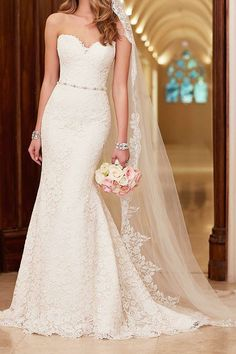 Romantic lace over satin wedding dress - Stella York does it once again.