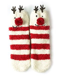 Red Bene Women's Christmas Christmas Fuzzy Socks Reindeer…