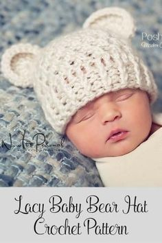 Crochet Pattern - this cute baby bear hat crochet pattern is perfect for boys and girls. It features a fun, lacy stitch design that makes this hat great for many seasons. Includes all sizes from baby to adult! By Posh Patterns. by jody