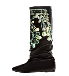 Judari Luxury Crown boots in caviar black glove soft napa