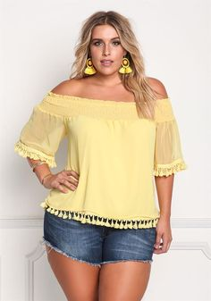 Plus Size Clothing | Plus Size Smocked Off Shoulder Chiffon Blouse | Debshops