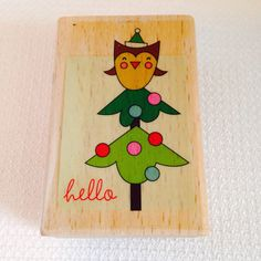 "New Hello Christmas Tree Owl Rubber Stamp, Wood Block Stamp, Whimsical, 2 1/8"" x 1 1/4"""