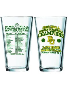 '2012 Baylor Lady Bears Women's Basketball National Champions 16 oz. Commemorative Glass'