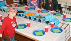 Cute train birthday idea...I love the cars with the finger foods but would make a cuter engine