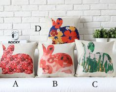 """Cotton/Linen Cushion Cover Shell Throw Pillow Scatter Cushion Case Pop Andy Warhol animals cute rabbit 1 pc 18"""" x 18"""""""