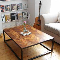 Reclaimed Parquet Flooring Table