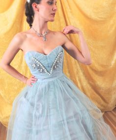 Heavily Beaded Baby Blue 50s Prom Dress/Vintage by AddOneVintage, $347.97