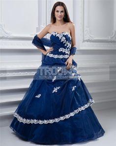 Quinceanera Dresses-baljurk lieverd mouwloze vloer lengte borduursels tule taft gala Quinceanera jurk