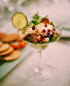 POTENTIAL NEW TREND: Soak your favorite fresh fruits in white wine to get a sangria fruit salad without all the spills! Or keep it virgin, but serve in some cute stemware - we love this either way! Mozzarella, 5 Course Meal, Carpaccio, Recipe Finder, Weird Food, Food Festival, Antipasto, Shrimp Recipes, Appetizer Recipes