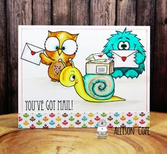 Happy Friday all! I'm Allison Cope and today we're going to play with a few different digital stamps. Happy Thursday, Happy Friday, You've Got Mail, Cute Monsters, Happy Birthday Cards, Happy Fall, Digital Stamps, Cool Cards, Digital Image