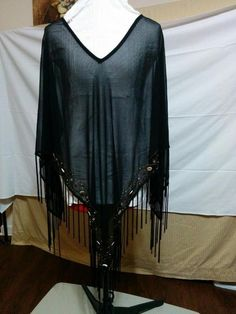 "Black Chiffon Poncho 6"" Fringe + Beaded Front Border Maggie Barnes Free Size    eBay"
