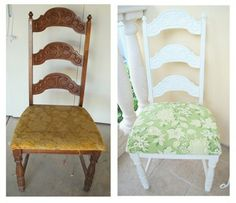 Can't wait to redo my ladder back chairs and table - they are an old orange stain that I do not like. I plan to freshen them up with some white paint and fabric that pops.