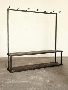 Industrial coat rack/ bench. Got to have the right space for it up pretty cool