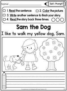 Comprehension for Kindergarten: Differentiated Writing Prompts that focus on fluency and comprehension.