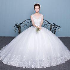 어깨 웨딩 드레스 한국어 공주 V 넥 결혼 제나라 2017 여름 새로운 여성 꼬리 신부 얇은 큰 야드이었다
