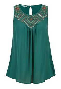 Maurices Sleeveless Top With Embroidery And Keyhole Back - Mountain Teal. Layering Tank Tops, Tie Dye, Fashion Outfits, Womens Fashion, Dress Me Up, Spring Outfits, Plus Size Outfits, Look, Cute Outfits