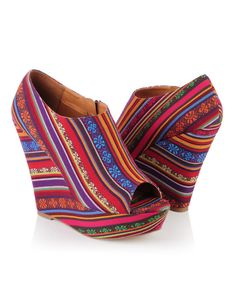 Desert Striped Wedge booties! Only $34.80 #shoes # tribal