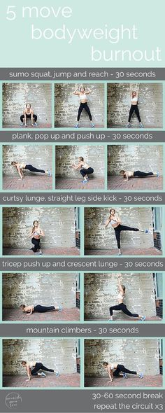 its amazing what you can do with just your bodyweight. repeat this 5 move circuit for a 10 minute, total body burn you can do anywhere, anytime. {click for bonus video}its am