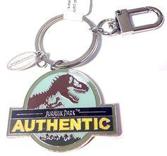 Exclusive Universal Studios Jurassic Park Authentic T-Rex Dinosaur Logo Metal Keychain with Charm