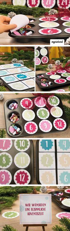 Eine kreative Idee für den Adventskalender! Wir funktionieren das Muffinblech um.. Christmas Time, Christmas Crafts, Christmas Ideas, Zoe S, Craft Organisation, Scrapbook Box, Advent Calenders, Christmas Inspiration, Diy Inspiration
