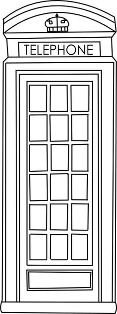 English telephone booth graphic.