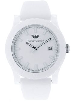 #Armani #watches AR1048, Stainless Steel case, Rubber Strap, White dial, Quartz movement, Scratch-resistant mineral, Water resistant up to 5 ATM-50 Meters-165 feet.
