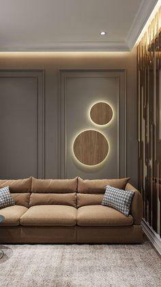 PUCK WALL ART | Fluorescent wall light – mooielight Living Room Interior, Home Decor Bedroom, Home Living Room, Living Room Decor, Home Room Design, Home Interior Design, Living Room Designs, House Design, Sofa Design