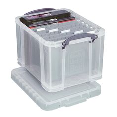 """Really Useful Boxes Plastic Storage Box, 32 Liters, 12""""H x 14""""W x 19""""D, Clear  Really good idea for temporary use until I find something more permanet that I can deal with it."""