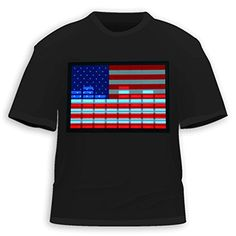 HDE Men's Sound-Activated LED T-Shirt (USA Flag, X-Large) $13.95