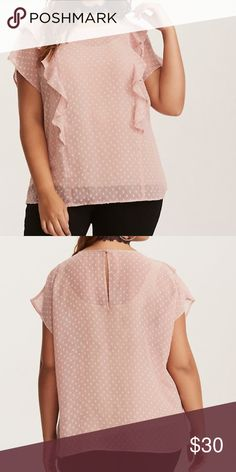 """Torrid  Pink Chiffon Ruffled Front Blouse Top Love this super frilly and cute.   Product Details:  Textured  Sheer blush pink chiffon  Frill ruffled trim from top to bottom   Measurements:  Armpit to Armpit: 27""""  Length: 29""""   Material:  Chiffon   Care:  Wash Cold, Dry Low torrid Tops Blouses"""