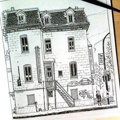 Vue du Starbucks St Denis / Ontario  #mtl #montreal  #sketch #blackandwhite #art #usk #illustration #montreal_gallery