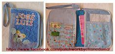 Porta caderneta de vacina com ziper. Patchwork e patch aplique. Artesã Eliane David.