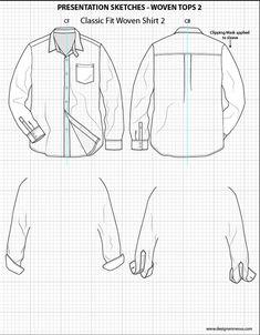 Mens Illustrator Flat Fashion Sketch Templates - Presentation Sketches Shirts…