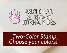 Bear Claw Two Color Return Address Stamp Custom by ladybugnotes