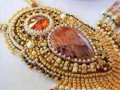 Bead Embroidery Necklace   Cream Picasso Swarovski Sea by Vicus, $120.00