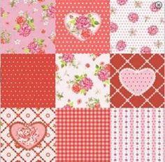4 serviettes en papier découpage collage CŒUR ROSE
