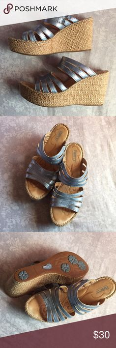 """❄️Ice Metallic Blue Wedges Born Extremely comfy wedges! Strappy metallic blue design on a 3 1/2"""" heel. Worn a few times some wear near toes (pic 4) but lots of life left. Has good traction with the rubber bottom. Size 9. Born Shoes Wedges"""