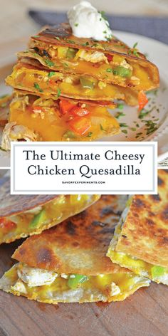 This Chicken Quesadillas Recipe is made with crispy tortillas chopped vegetables and lots of cheese! This shows you how to make quesadillas the easy way! How To Make Quesadillas, Chicken Quesadillas, Vegetable Recipes, Appetizer Recipes, Dinner Recipes, Appetizers, Drink Recipes, Great Recipes