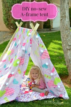 My kids are definitely going to love this, and how cool that it folds down to like NOTHING and can stash in a  closet or under a bed. How to make an a-frame tent