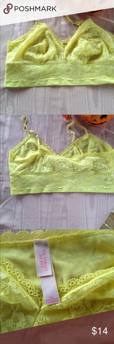 VS Yellow Lace Bralette NWOT Victoria's Secret lined lace bralette in a gorgeous yellow color. Never worn. NWOT Sz L. Lost weight so I am selling my entire closet🎉🎉 Victoria's Secret Intimates & Sleepwear Bras