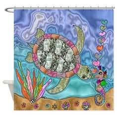 Sea Turtle Seahorse Art Shower Curtain on CafePress.com