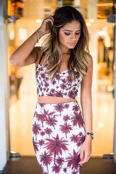 Thassia Naves - matching mauve and white, coconut tree patterned crop top and skirt